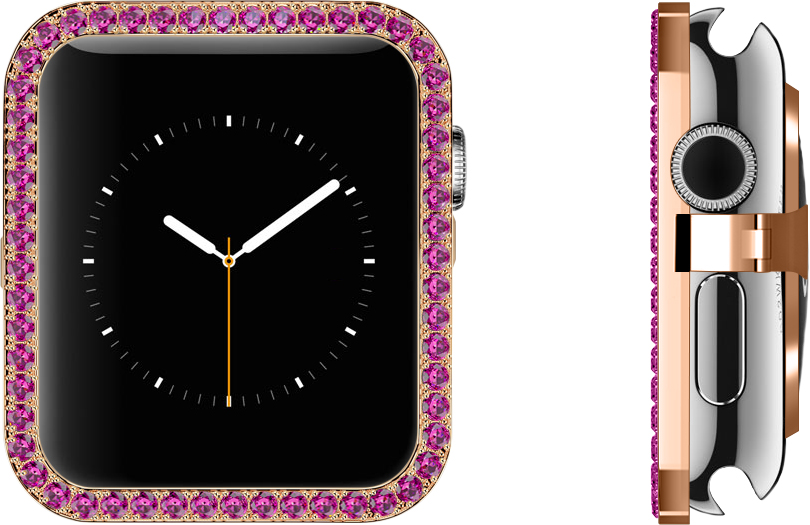 Pink Sapphires 18 Carat Rose Gold Bezel