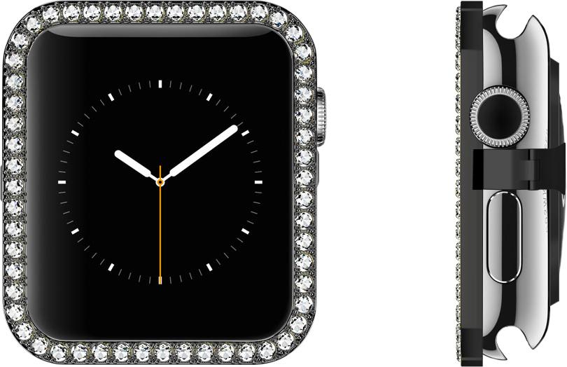 White Swarovski Premium Cubic Zirconia Gems Set in Black Stainless Steel Bezel