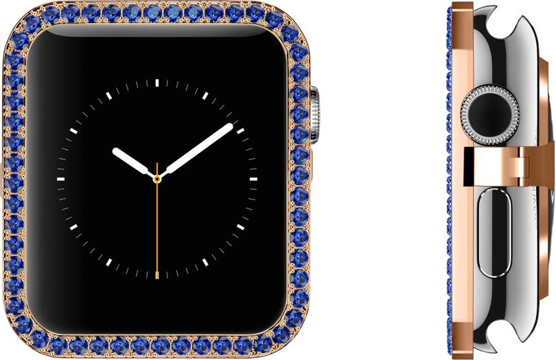 Blue Sapphire Lab-grown Synthetic Gems Set in 18k Rose Gold Bezel