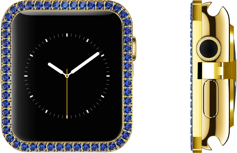 Blue Sapphire Lab-grown Synthetic Gems Set in 18k Yellow Gold Bezel