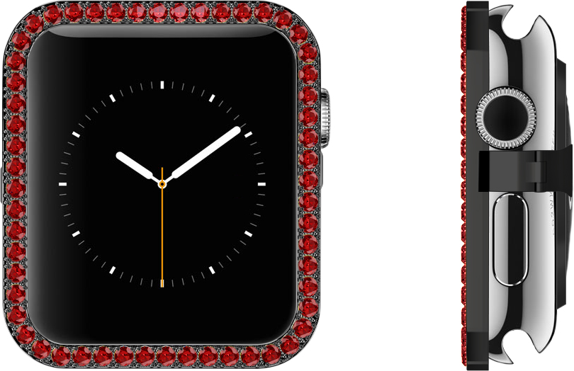 Ruby Lab-grown Synthetic Gems Set in Black Stainless Steel Bezel